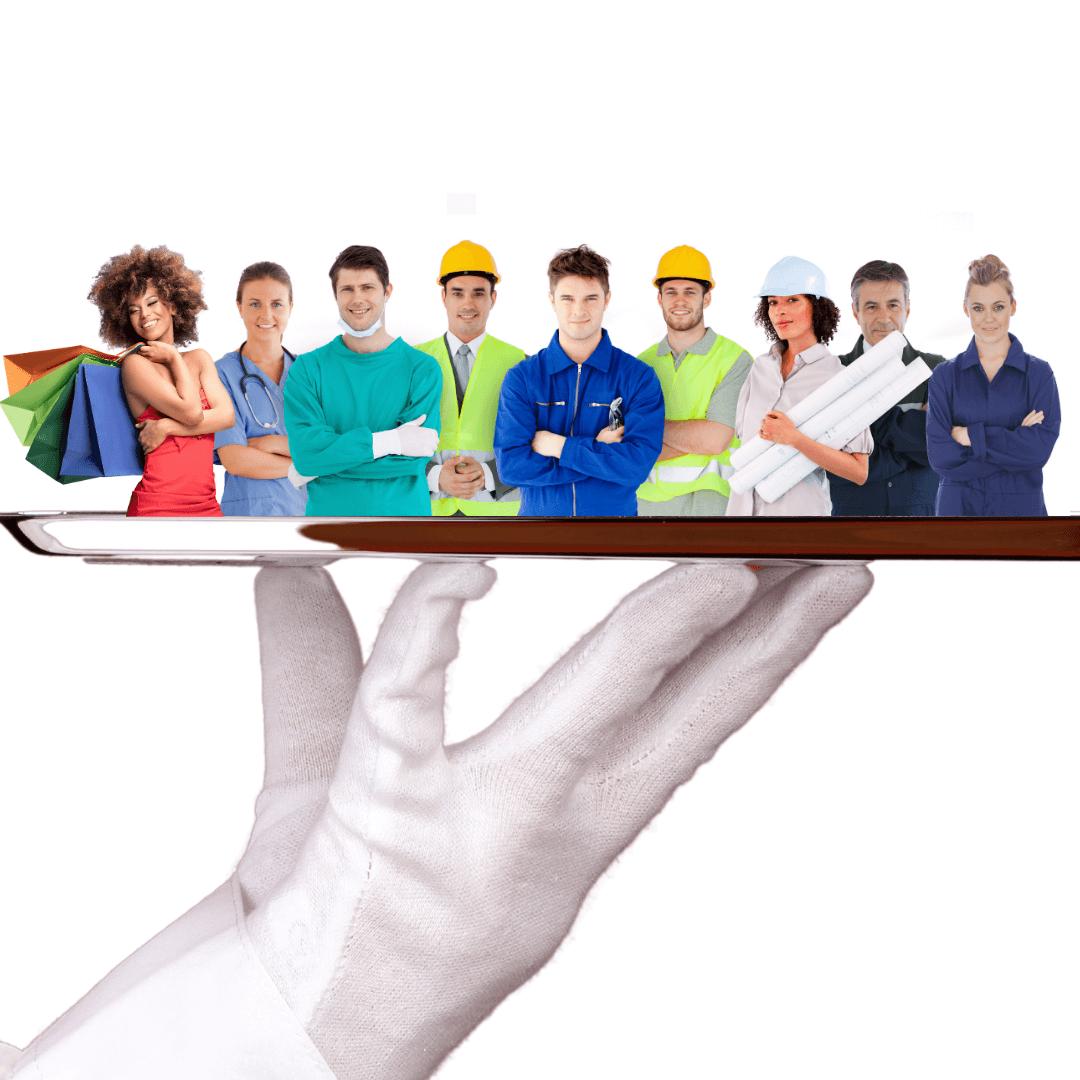 Kunden und Mitarbeiter auf dem Silbertablett